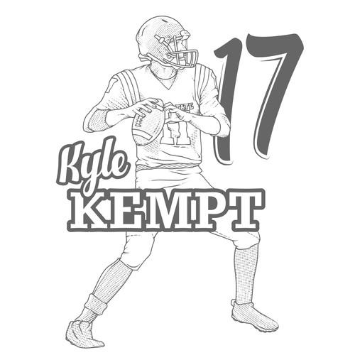 T'shirt design football player Kyle Kempt