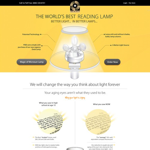 (B2C) Landing page for the World's Best Reading Lamp
