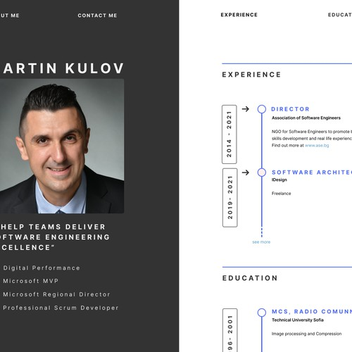 Personal resume web page.