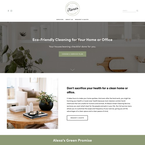 Elevated Squarespace Design for Natural Cleaning Company, Alexa's Green Cleaning