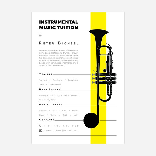 Flyer for Instrumental Music Tuition