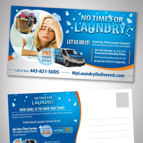 Design a Postcard Mailer for a Wash & Fold Delivery Service