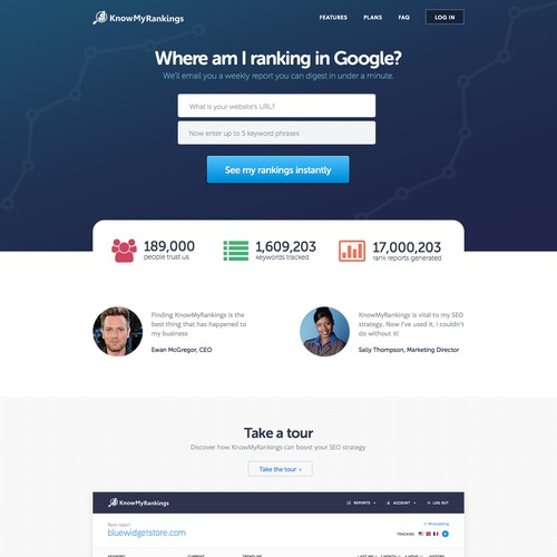 Design a web interface for an innovative Google rank tracking SaaS app