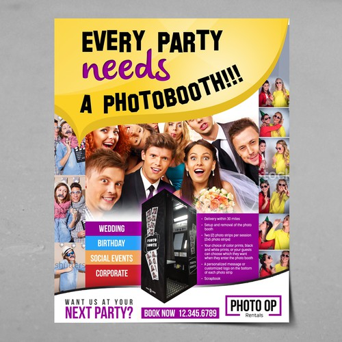 Create eye catching print media for photo booth rental company