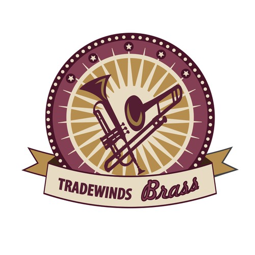 Create a logo for Tradewinds Brass, a brass quintet that entertains and educates.