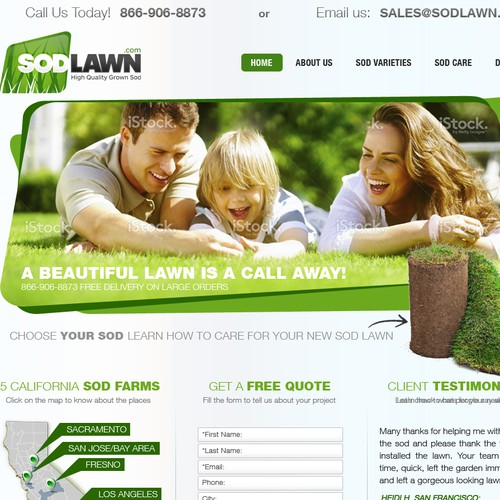 Design a clean attractive homepage for sodlawn.com