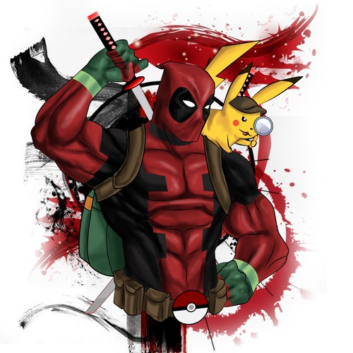 deadpool x pikachu mash up