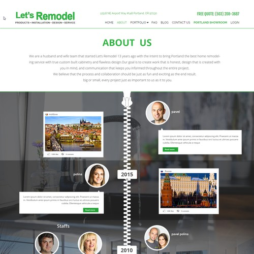 About Us page for kitchen and bathroom remodelers