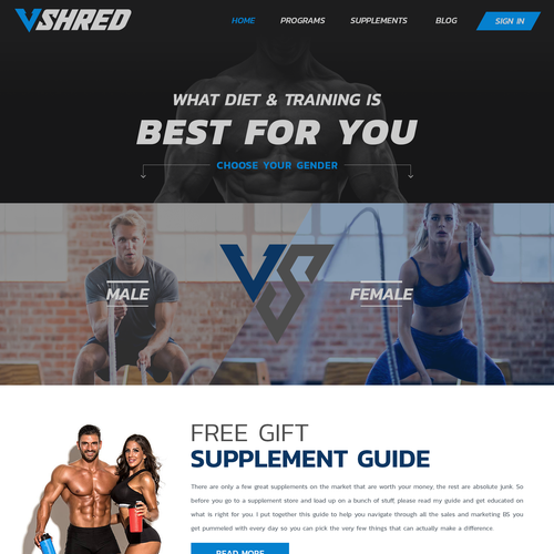 Fitness and Supplement website needs new design