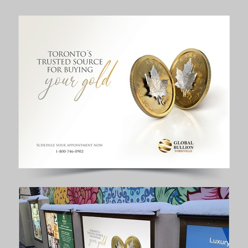 OOH Billboard design and gold 3d coins rendering