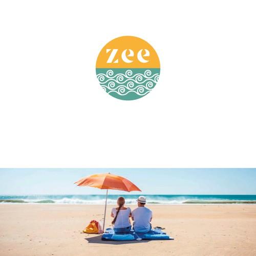 Conceito logotipo para produtos de aluguel na praia