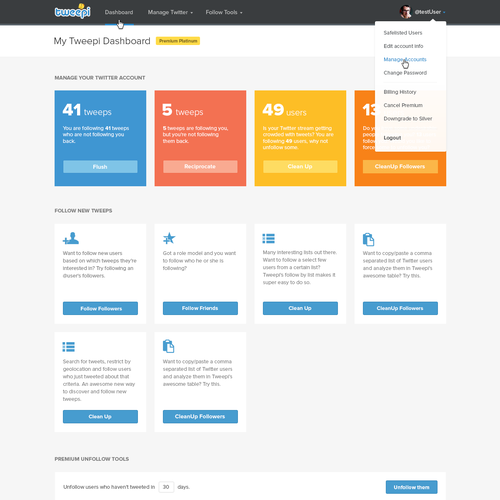 Tweepi desktop web-app: user experience and visual design