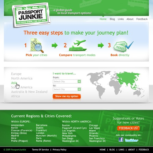 Website design for Passport Junkie