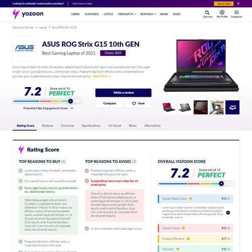 yozoon Product Page Concept