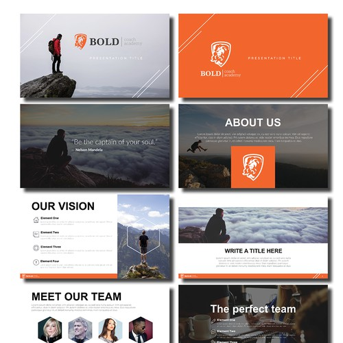 Investor deck powerpoint template for BOLD Academy