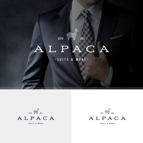 Logo design for a new men's business suit company. The brand name comes from the animal Alpaca which is considered to be a very good source for suit fabric. The target audience is of course men - 25 to 50 years, who work in a business environment.