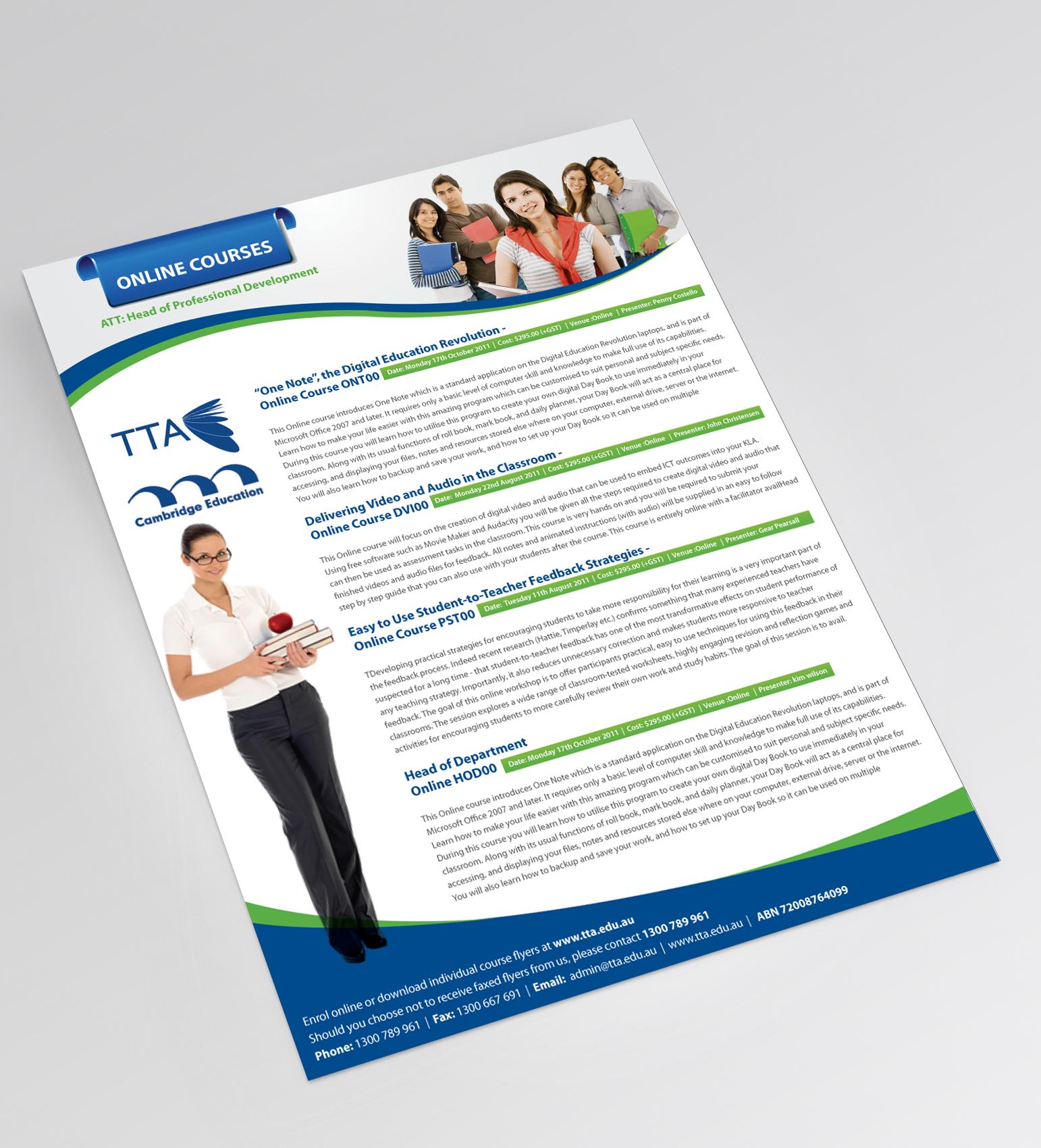 Create the next postcard or flyer for Teacher Training Australia