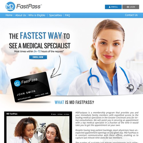 Re-design Home Page for VIP Medical Access Website