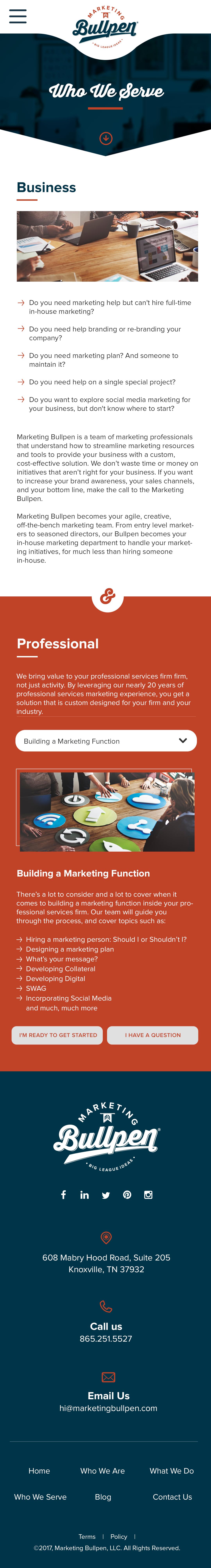 Marketing Bullpen - Interior Website Pages Design