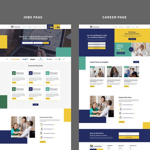 Website design for Medical Sales College Job Portal