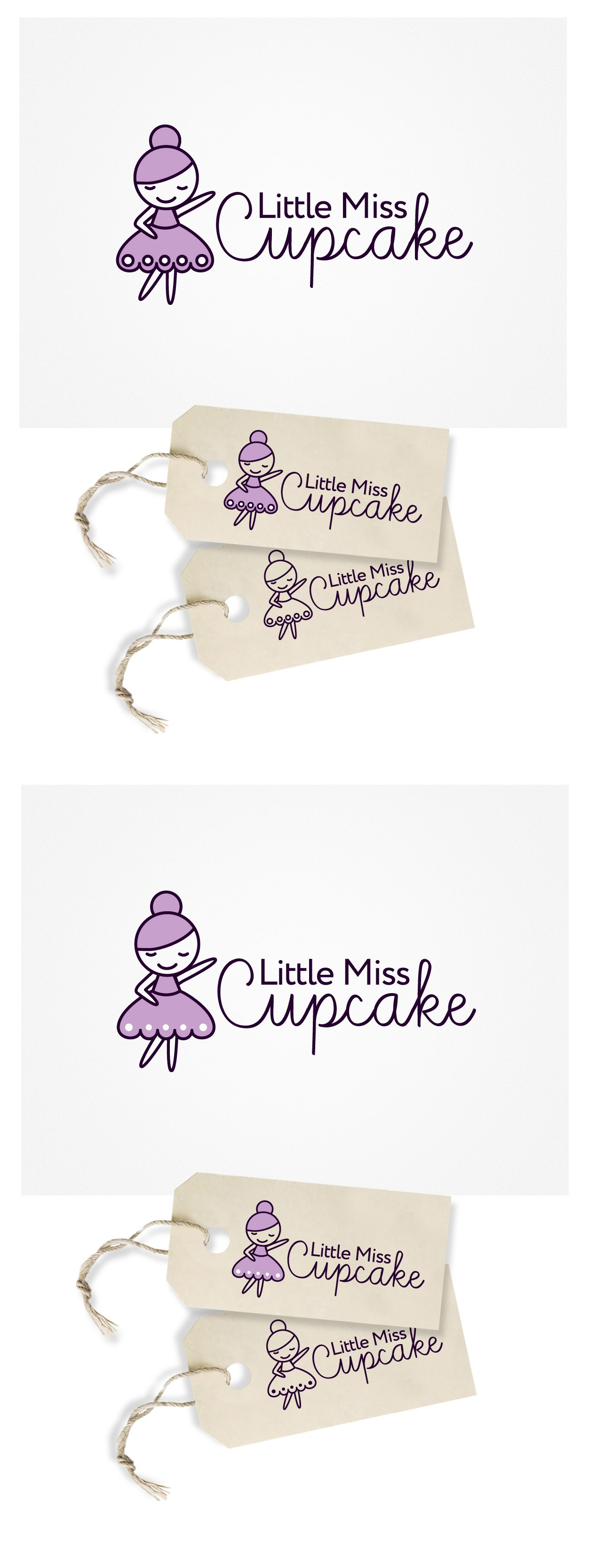 Create a logo incorporating a dress and cupcake for Little Miss Cupcake