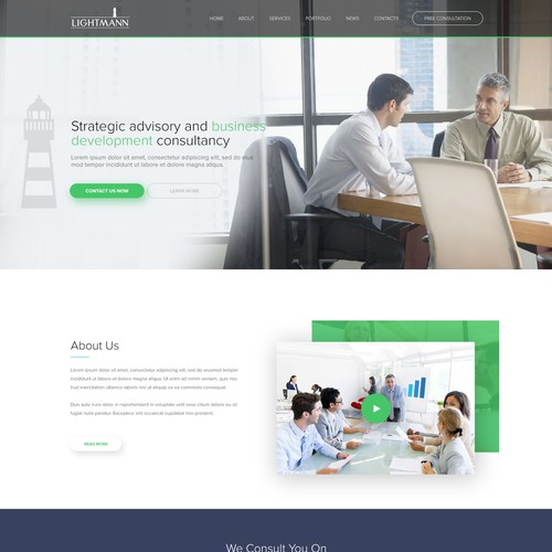 Landing page design for a consulting firm