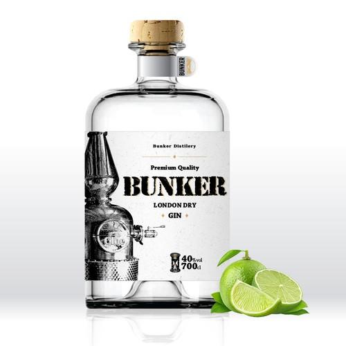 'Bunker Gin' label design