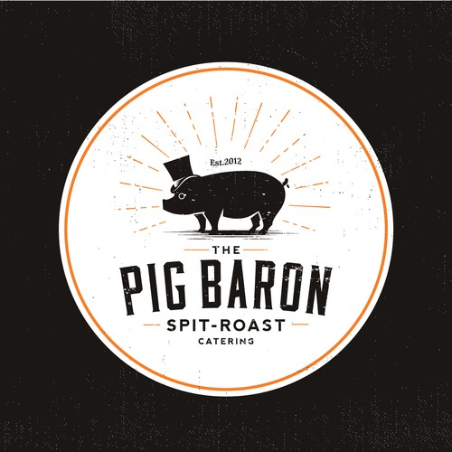 A pig-themed logo for a pig on the spit catering company