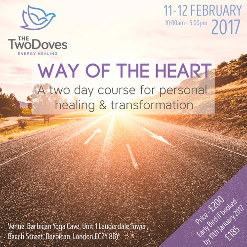 The first workshop flyer for a new brand 'The Two Doves'
