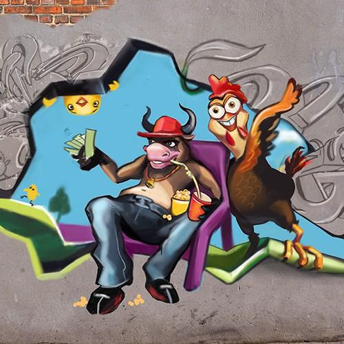 3-D Graffiti Art Scene