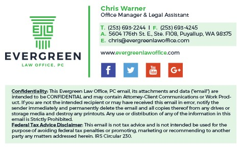 Evergreen Law Office Business Card & Email Signature