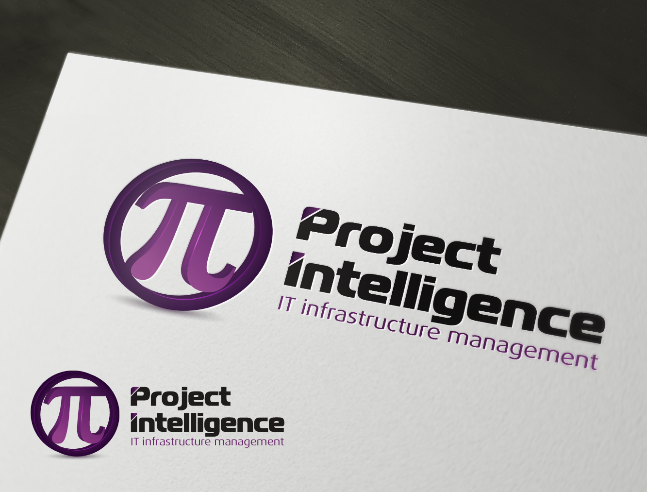 logo and business card for PI - Project Intelligence