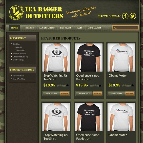 Create a storefront website for Teabagger Outiffters