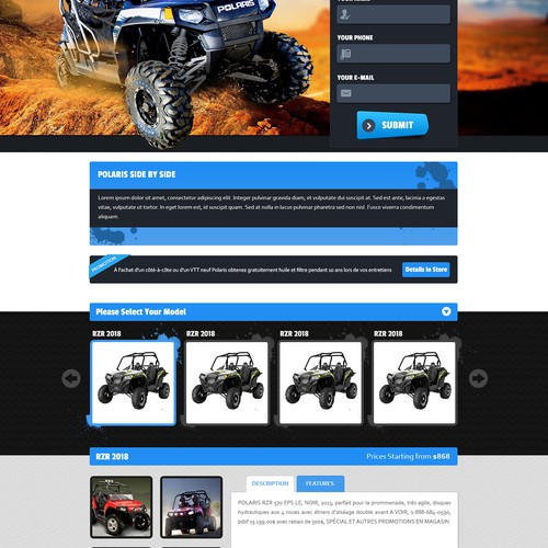 Create the next website design for Off road vehicles landing page