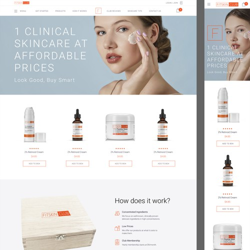 Design a homepage for a disruptive skincare club