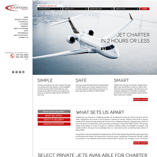 Help JetOptions Private Jets with a new website design