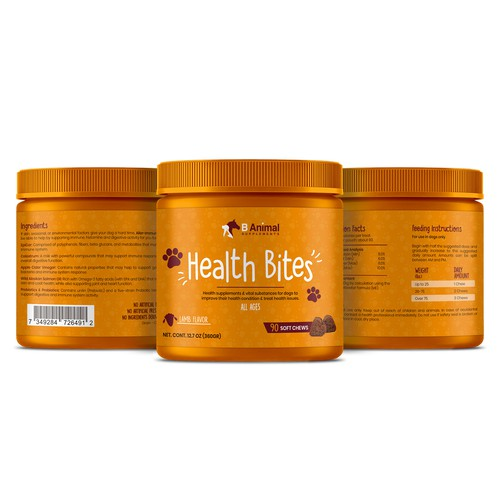 Create Modern Label for Animal Supplements which improve Health and treat health issues
