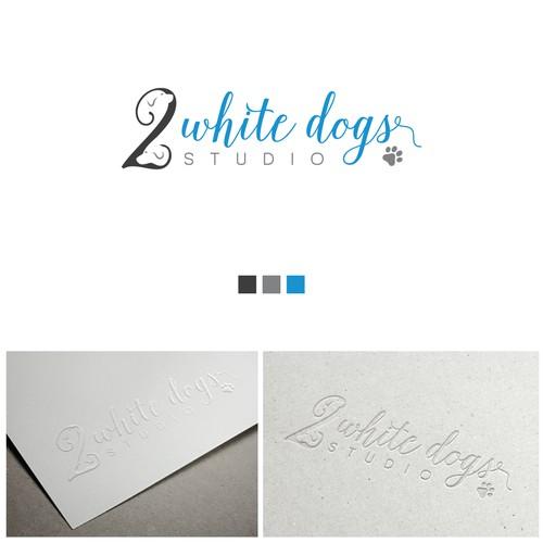 Two white dogs studio