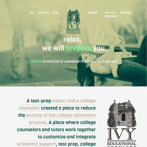 High End Website for International College Counseling & Test Prep Company