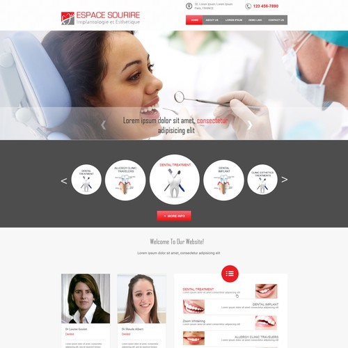 Create a website for esthetic clinique Espace Sourire