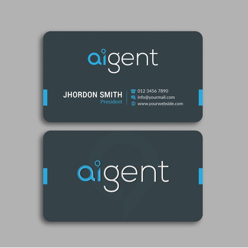 Design a business card for an AI startup