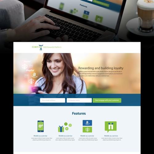Visually pleasing landing page for B2B Mobile Rewards platform
