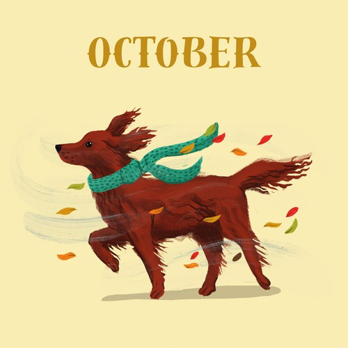 Cute Dog Calendar Illustrations