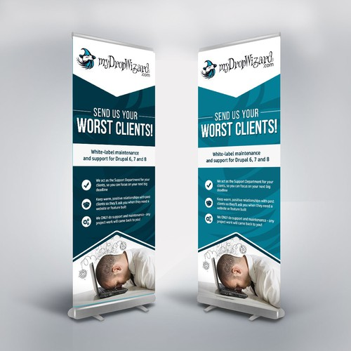 VERTICAL BANNER for the myDropWizard booth at a conference!
