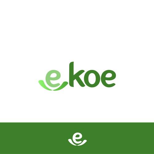 Ideia de design de logotipo para EKOE. Setor ambiental