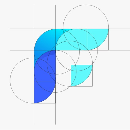 F logo with golden ratio