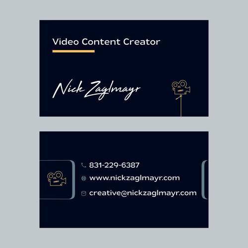 Video content creator business card design