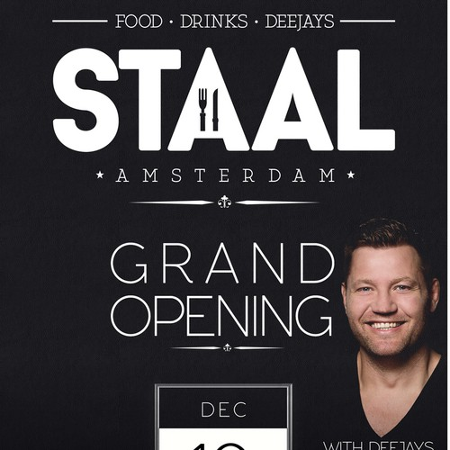 Black themed flyer for stall from Amsterdam