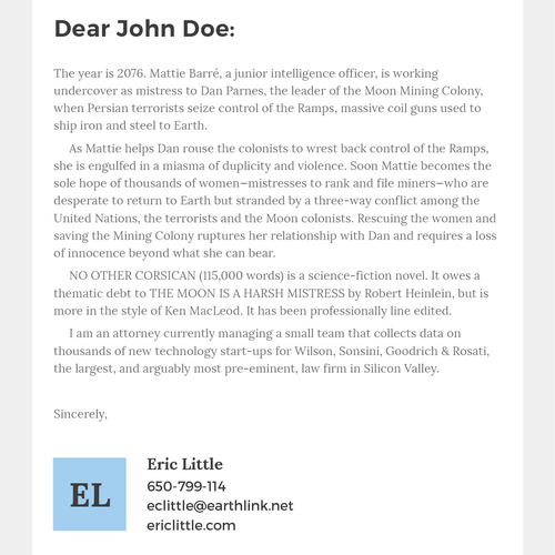 An email to literary agents