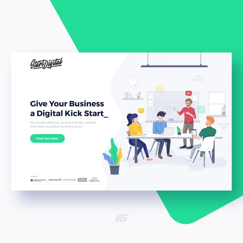 Landing page illustration for web design agency